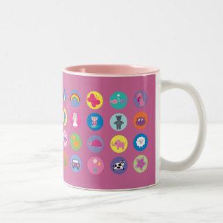 Personalizado rosado de los iconos coloridos taza de dos tonos