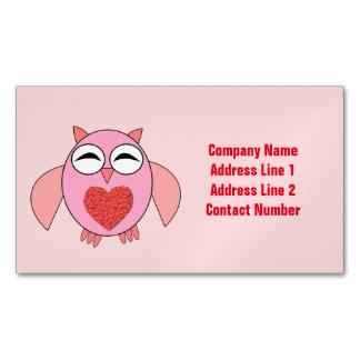 Personalizado rosado del búho del corazón del amor tarjetas de visita magnéticas (paquete de 25)