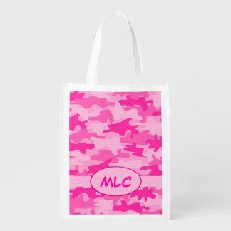 Personalizado rosado fucsia del monograma del camu bolsas de la compra
