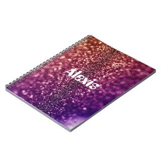 Personalizado rosado púrpura de ALEXIS nombrado Libros De Apuntes