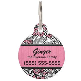 Personalizado rosado y blanco retro del helecho placas de mascota