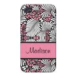 Personalizado rosado y blanco retro del helecho iPhone 4/4S carcasas