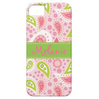 Personalizado rosado y verde del monograma del iPhone 5 carcasas