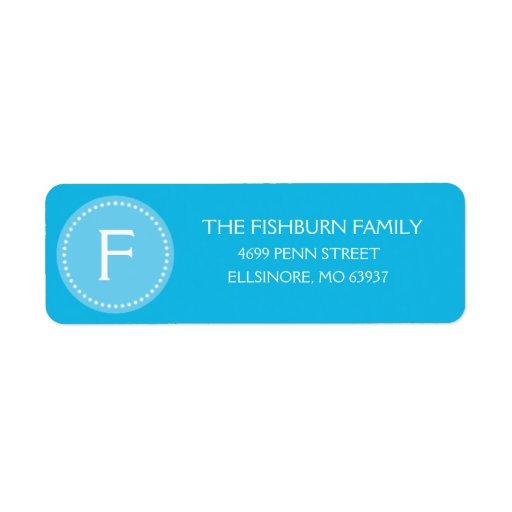Personalizado silenciado azul del monograma de Bah Etiquetas De Remite