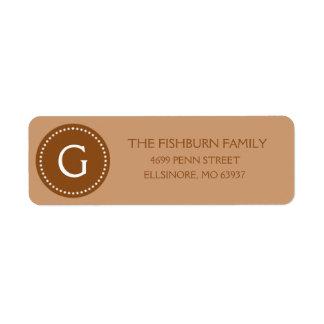 Personalizado silenciado del monograma de Brown de Etiquetas De Remite