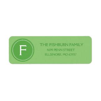 Personalizado silenciado del monograma de la verde etiqueta de remite