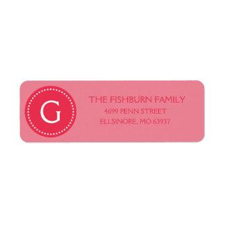 Personalizado silenciado del monograma del rosa de etiquetas de remite