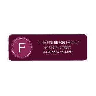 Personalizado silenciado púrpura del monograma del etiqueta de remite