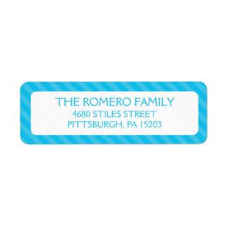 Personalizado simple azul de las rayas personaliza etiqueta de remite