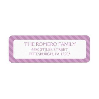 Personalizado simple púrpura de las rayas etiquetas de remite