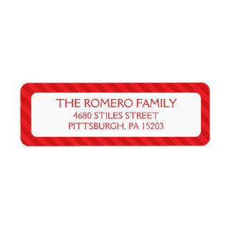 Personalizado simple rojo de las rayas etiqueta de remitente
