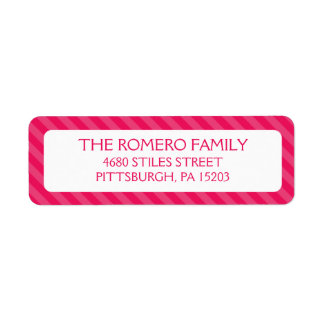 Personalizado simple rosado de las rayas etiqueta de remite