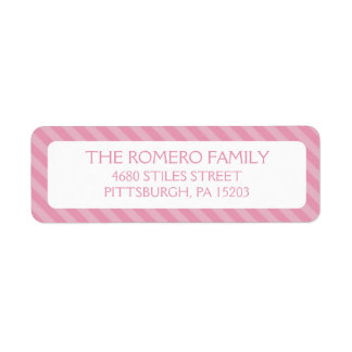 Personalizado simple rosado de las rayas personali etiqueta de remite