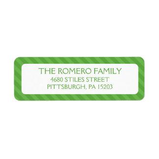 Personalizado simple verde de las rayas etiqueta de remitente
