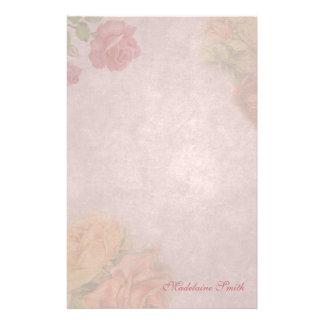 Personalizado subió vintage floral papelería personalizada