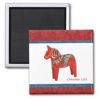 Personalizado sueco del caballo de Dala del navida Imán Cuadrado