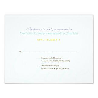 """:: personalizado: Tarjeta bilingüe de RSVP del Invitación 4.25"""" X 5.5"""""""