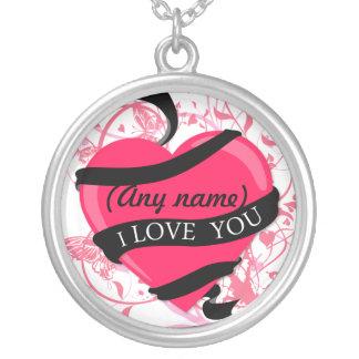 Personalizado te amo (cualquier nombre) colgante redondo