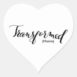 Personalizado transformado pegatina en forma de corazón