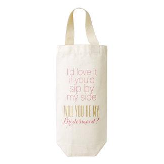 Personalizado usted será mi regalo de las damas de bolsa para botella de vino zazzle HEART
