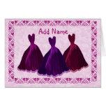 PERSONALIZADO - vestidos púrpuras del terciopelo d Felicitación