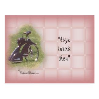 Personalizar antiguo de la postal del triciclo él