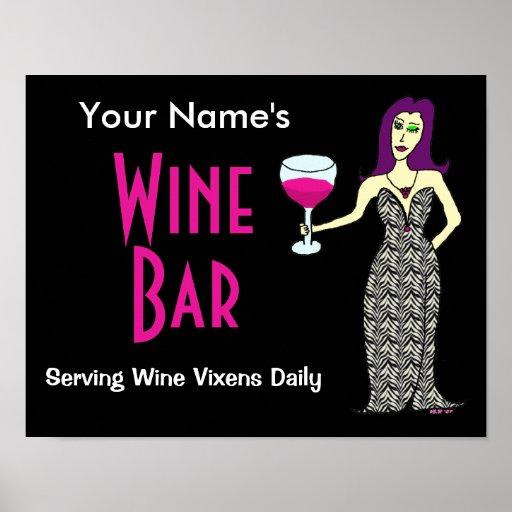 Personalizar con su poster conocido del bar de vin