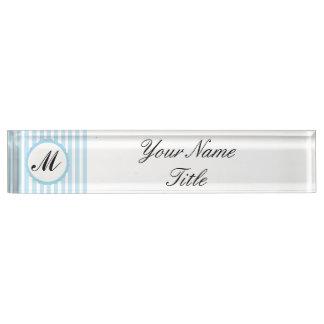 Personalizar de encargo azul rayado del nombre del