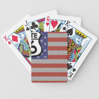 Personalizar de la bandera americana de la ruta 66 cartas de juego