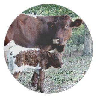 Personalizar de la placa del ganado de Pinzgauer Platos Para Fiestas