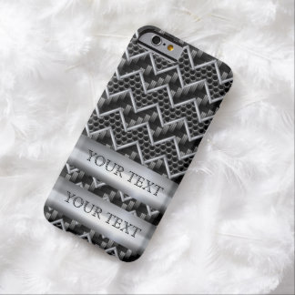 PERSONALIZAR DE LA PLANTILLA DEL CARBONO DEL METAL FUNDA DE iPhone 6 BARELY THERE