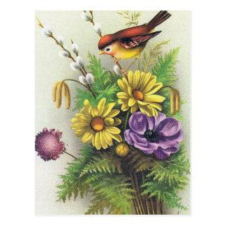 Personalizar de la tarjeta de la flor del vintage tarjeta postal