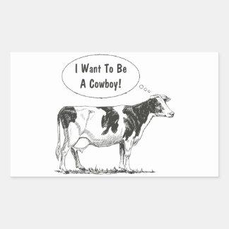Personalizar de la vaca del pensamiento de pegatina rectangular