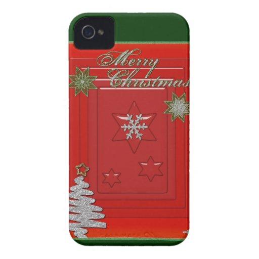 Personalizar de las Felices Navidad Case-Mate iPhone 4 Cárcasa