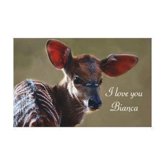 Personalizar de los ciervos del Nyala del bebé Lona Estirada Galerías