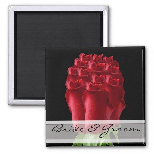 Personalizar de los imanes del boda del rosa rojo  imán de frigorífico
