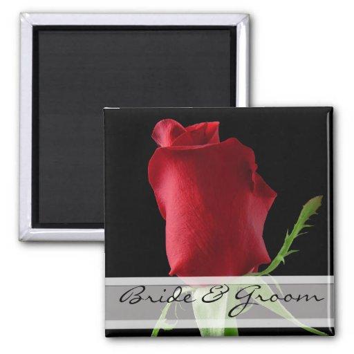 Personalizar de los pegatinas del boda del rosa ro imán de frigorífico