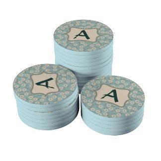 Personalizar de marfil del modelo de flores del juego de fichas de póquer