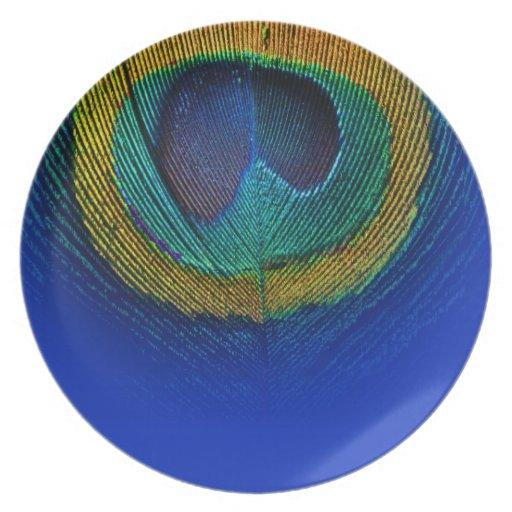 Personalizar de PixDezines este ojo del pavo real, Plato De Cena