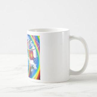 Personalizar del arco iris y de las estrellas él taza de café