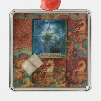 Personalizar del arte de Shakespeare con la cita Adorno Navideño Cuadrado De Metal