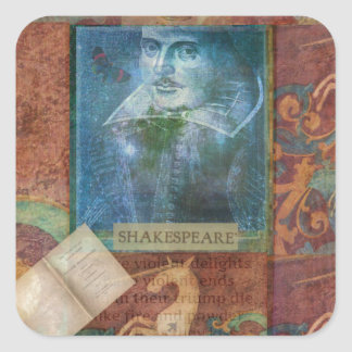Personalizar del arte de Shakespeare con la cita Pegatina Cuadrada