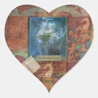 Personalizar del arte de Shakespeare con la cita Pegatina En Forma De Corazón