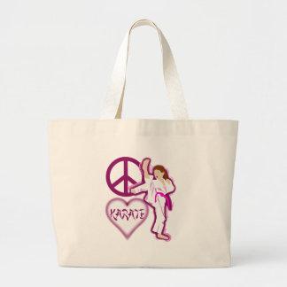 Personalizar del chica del karate del amor de la p bolsa tela grande