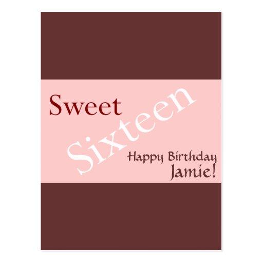 Personalizar del fondo del dulce dieciséis tarjetas postales