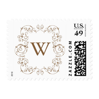Personalizar del franqueo del monograma él timbre postal
