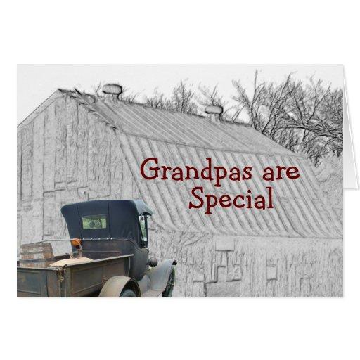 Personalizar del granero del camión antiguo y del tarjeta de felicitación