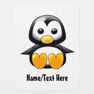 Personalizar del nombre del pingüino del bebé manta de bebé