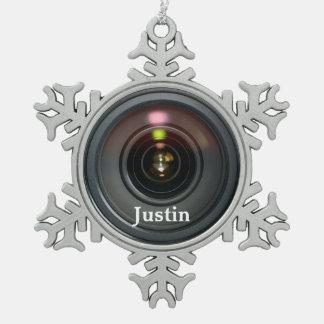 ¡Personalizar del ornamento de la lente de cámara Adorno De Peltre En Forma De Copo De Nieve