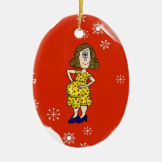 ¡Personalizar del ornamento del navidad de la Adorno Navideño Ovalado De Cerámica